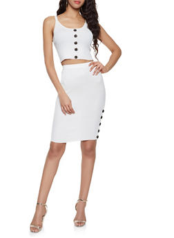 Ribbed Knit Tank Top and Skirt Set - WHITE - 1412015991510