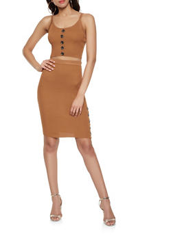 Ribbed Knit Tank Top and Skirt Set - BROWN - 1412015991510