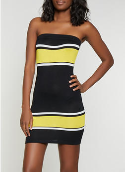 Color Block Knit Tube Dress - 1412015991730