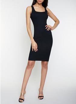 Sleeveless Rib Knit Midi Dress - 1412015991740