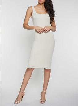 Sleeveless Rib Knit Midi Dress - 1412015991740