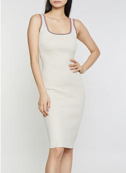 Contrast Trim Ribbed Knit Tank Dress - 1412015991741