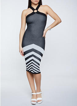Chevron Detail Ribbed Knit Bodycon Dress - 1412015992790