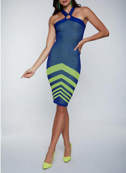 Chevron Detail Ribbed Knit Bodycon Dress - 1412015992790