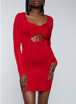 Drawstring Keyhole Sweater Dress - 1412015993190