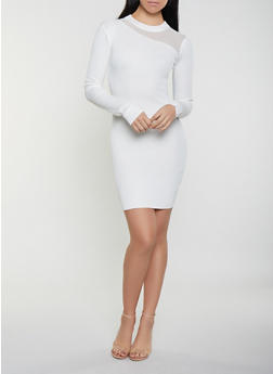 Mesh Yoke Sweater Dress - 1412015993400