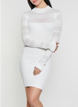 Pointelle Rib Knit Sweater Dress - 1412015993430