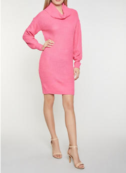 Cowl Neck Sweater Dress - 1412015993651