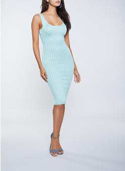 Ribbed Knit Sleeveless Bodycon Dress - 1412015996053