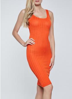 Ribbed Knit Sleeveless Bodycon Dress - 1412015996053