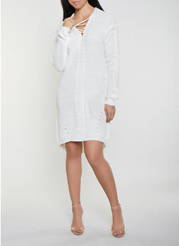 Lace Up High Low Sweater Dress - 1412015996401