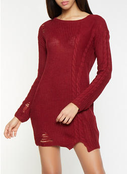 Distressed Cable Knit Sweater Dress - 1412015996580
