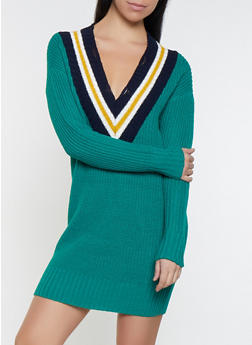 Striped V Neck Sweater Dress - 1412015996621