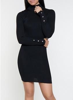 Snap Sleeve Mini Sweater Dress - 1412015996950