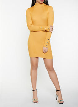 Snap Sleeve Mini Sweater Dress - 1412015996950