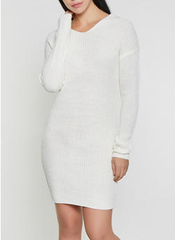 Twist Back Sweater Dress - White - Size L - 1412015996970