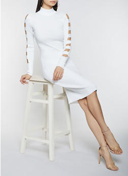 Caged Sleeve Sweater Dress - 1412015997040
