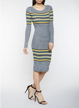 Striped Sweater Dress - 1412015997060