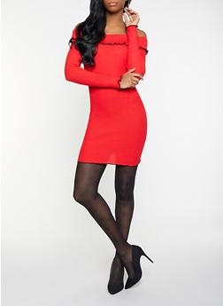 Rib Knit Off the Shoulder Sweater Dress - 1412015997070