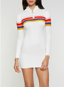 Striped Detail Sweater Dress - 1412015997150