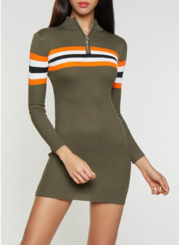 Striped Detail Sweater Dress - 1412015997150