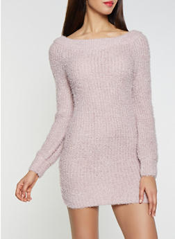 Feathered Knit Off the Shoulder Sweater Dress - 1412015997200