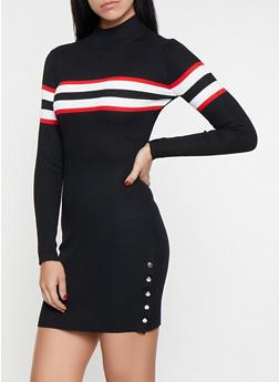 Striped Detail Sweater Dress - 1412015997222