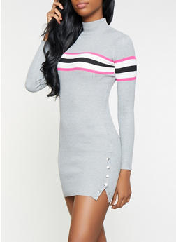 Striped Detail Sweater Dress - 1412015997222