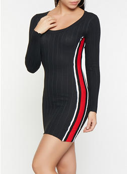 797753f2f19 Striped Tape Sweater Dress - 1412015997310