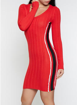 Striped Tape Sweater Dress - 1412015997310