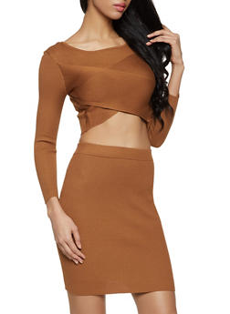 Criss Cross Crop Top and Pencil Skirt Set - 1412015998310