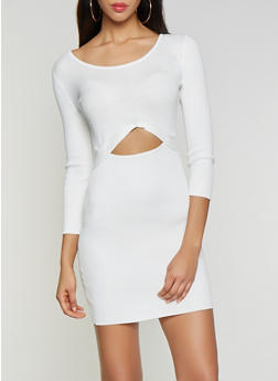 Cut Out Rib Knit Sweater Dress - 1412015998630