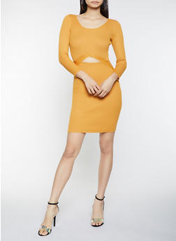 Cut Out Rib Knit Sweater Dress - 1412015998630