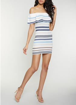 Striped Off the Shoulder Rib Knit Dress - 1412015999281