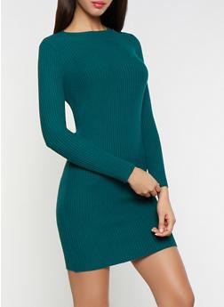Rib Knit Sweater Dress - 1412054210145