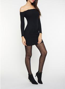 Off the Shoulder Sweater Dress - 1412054210341