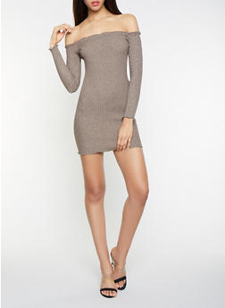 Off the Shoulder Sweater Dress - 1412054210341