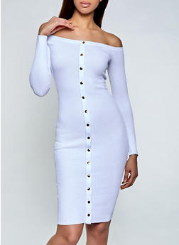 Rib Knit Metallic Button Detail Sweater Dress - 1412062125067