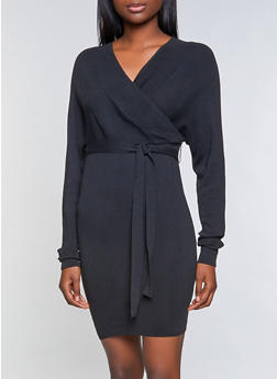 Belted Faux Wrap Sweater Dress - 1412062705317