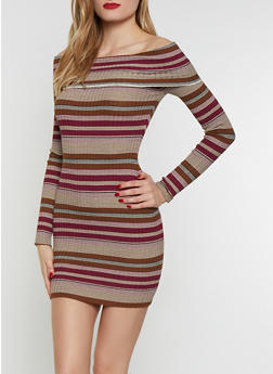 Striped Off the Shoulder Sweater Dress - 1412062707041