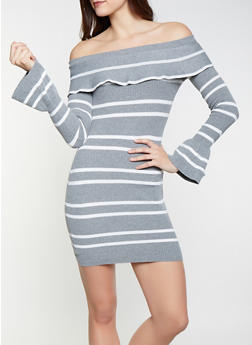 Striped Off the Shoulder Sweater Dress - 1412062707091