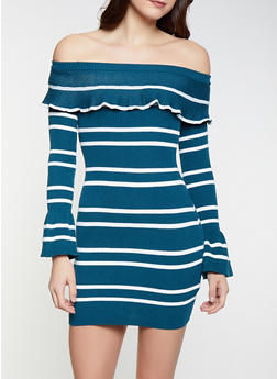 d5c0eafc06 Striped Off the Shoulder Sweater Dress - 1412062707091