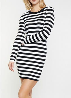 Striped Ribbed Knit Sweater Dress - 1412068190709