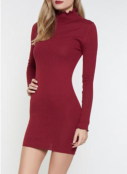 Lettuce Edge Mock Neck Sweater Dress - 1412068190855