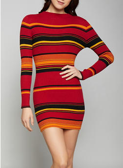 Striped Mock Neck Sweater Dress - 1412068193193