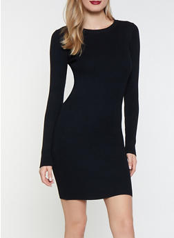 Ribbed Knit Sweater Dress - 1412068193198