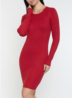 Ribbed Knit Sweater Dress - 1412068193198