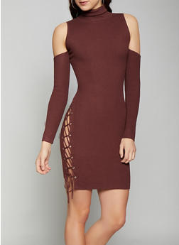 Cold Shoulder Lace Up Sweater Dress - 1412068196666