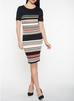 Striped Sweater Dress - 1412069390772