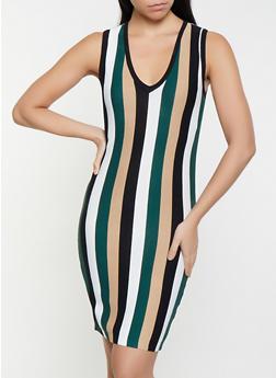 Striped Sweater Dress - 1412069390773